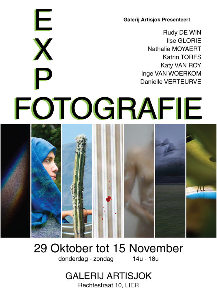 Poster of the Expo with the names of the 7 photographers on it, 7 small fragments of photos, the dates (29/10/2020 untill 15/11/2020) and the place (Artisjok, Rechtestraat 10, Lier Belgium)