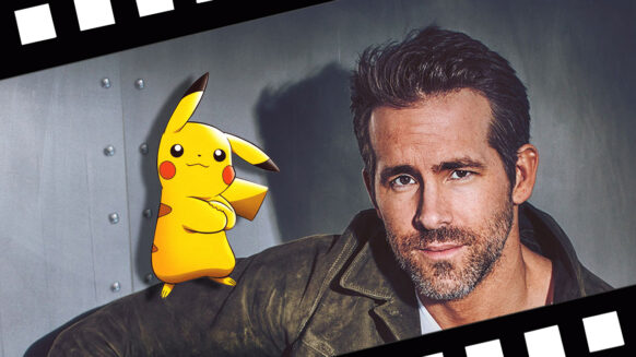 A headshot of the actor Ryan Reynolds with a drawn Pikachu resting on his right shoulder.